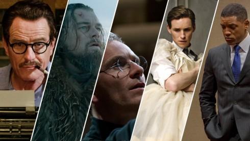 Các ứng cử viên cho hạng mục Nam diễn viên phim chính kịch xuất sắc nhất (từ trài sang): Bryan Cranston, Leonardo DiCaprio, Michael Fassbender, Eddie Redmayne và Will Smith.