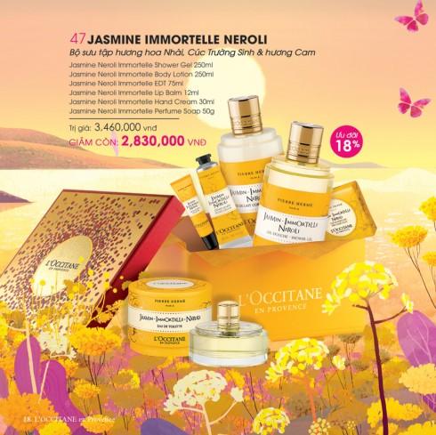 Những nốt hương ngọt ngào trong bBộ sản phẩm dưỡng da hương Hoa Nhài, Cúc Trường Sinh và hương Cam (Jasmine Immortelle Neroli).
