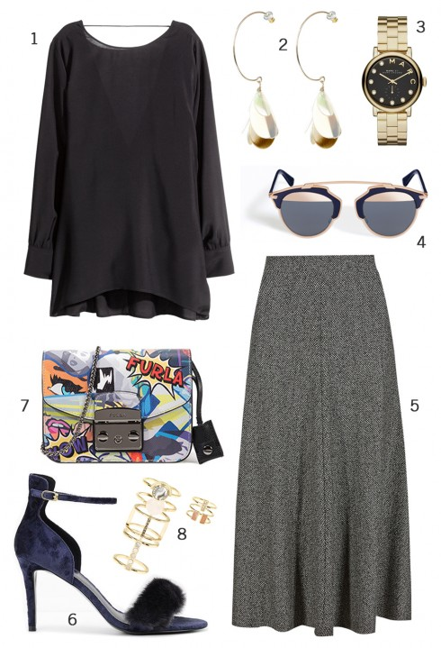 CÁCH PHỐI 6: 1. Áo blouse H&M - 2. Hoa tai Accessorize - 3. Đồng hồ Marc Jacobs - 4. Mắt kính Dior - 5. Váy Marks & Spencer - 6. Giày Charles & Keith - 7. Túi xách Furla - 8. Set nhẫn Accessorize