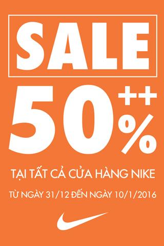 Nike giảm 50% các mặt hàng từ 31/12/2015 - 10/1/2016