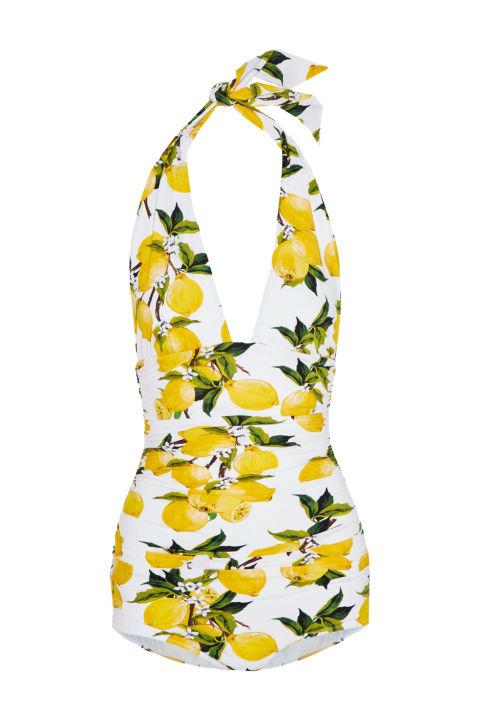 Dolce & Gabbana Printed Halterneck Swimsuit ( net-a-porter.com)