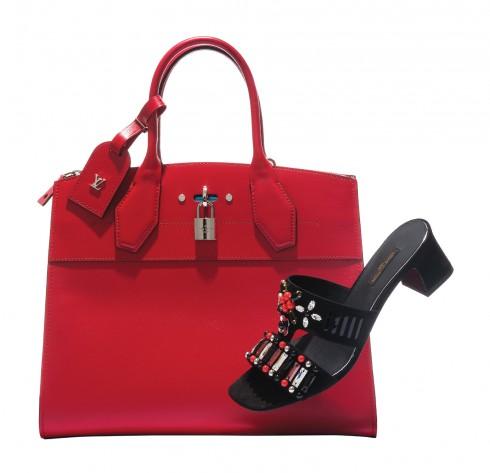 Túi xách City Steamer & giày đính đá Louis Vuitton