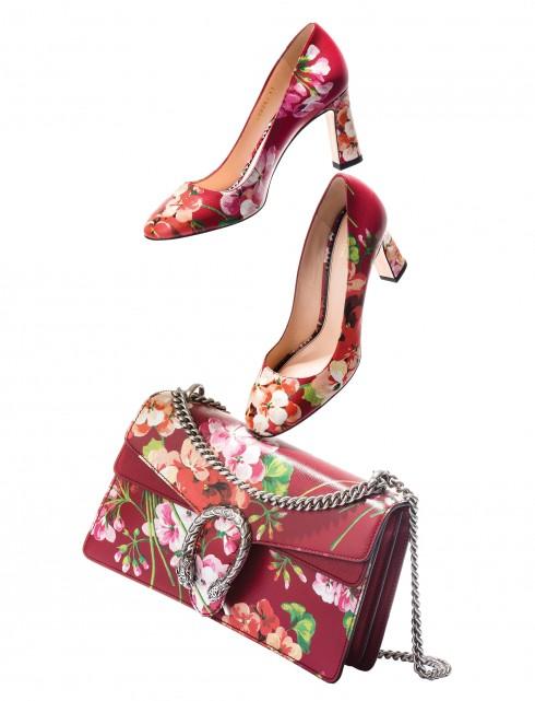 Túi xách Dionysus và giày cao gót Gucci