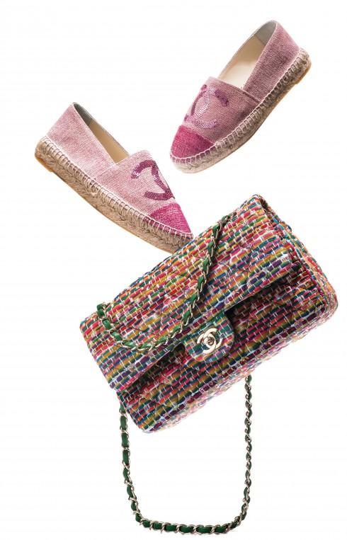 Giày espadrilles & túi xách dây xích Chanel