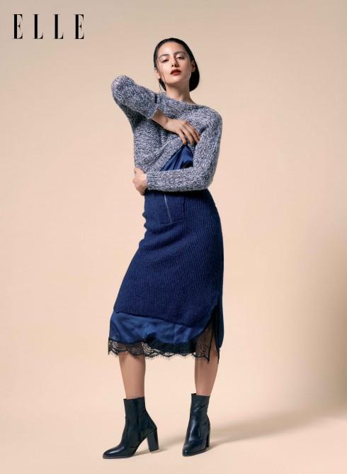 Áo len Max & Co, Đầm lụa Lam, Bốt Topshop