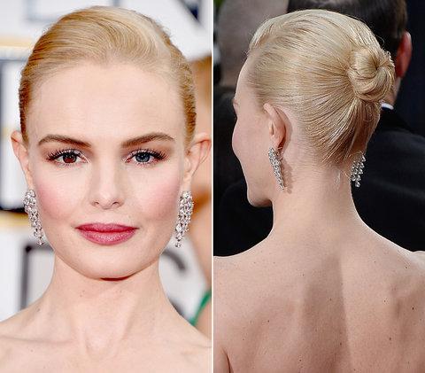 Kate được stylist Bridget Brager chọn trang phục của Dolce & Gabbana và tạo mẫu tóc
