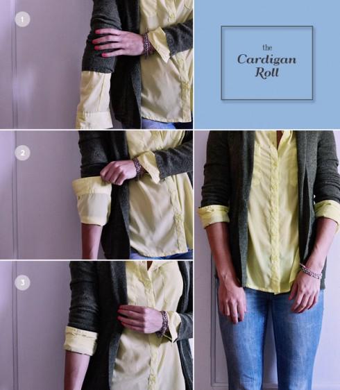 Vén tay áo cardigan