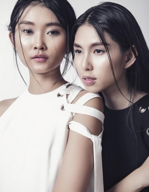 Kim Nhung (trái) tuy mới vào nghề nhưng khuôn mặt đậm chất Á Đông và diễn xuất có hồn nên rất được các nhà thiết kế Việt tin tưởng.