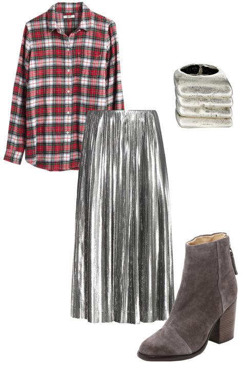 Váy ánh kim (mytheresa.com) - Áo ca-rô (madewell.com) - Set nhẫn gợn sóng (barneys.com) - Giày bốt lửng (shopbop.com)