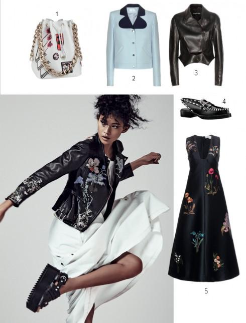 Người mẫu: Áo khoác da ALEXANDER MCQUEEN Đầm trắng KENZO Giày ALEXANDER WANG Nhẫn HELEN YARMAK