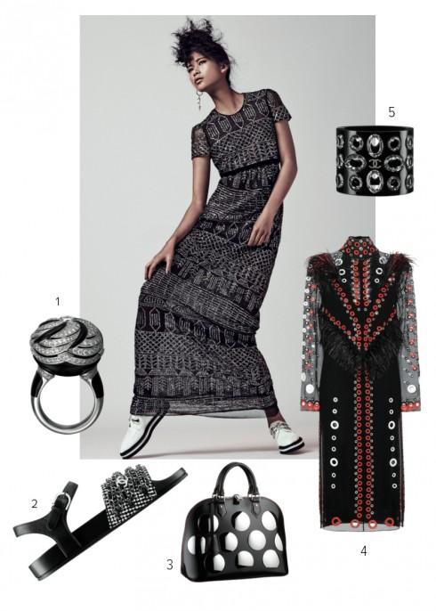 Người mẫu: Đầm BURBERRY Giày và hoa tai ALEXANDER MCQUEEN