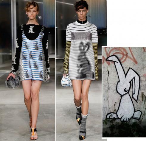 Họa tiết chú thỏ và đôi mắt được xử lý đầy tinh nghịch trên chiếc váy chữ A đặc trưng của thập niên 1970s