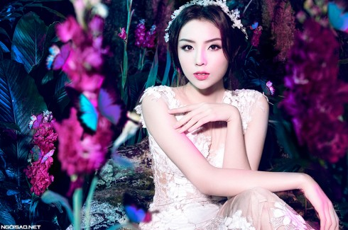 Hoa hậu Kỳ Duyên lung linh trong váy cưới ở Ba Vì 09 ELLE VN