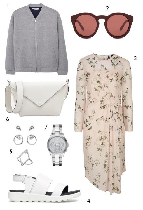 THỨ BA: 1 áo khoác Mango, 2 mắt kính Marc Jacobs, 3 đầm Topshop , 4 sandals Ecco, 5 set hoa tai và nhẫn Miss Selfridge, 6 túi Charles & Keith, 7 đồng hồ DKNY