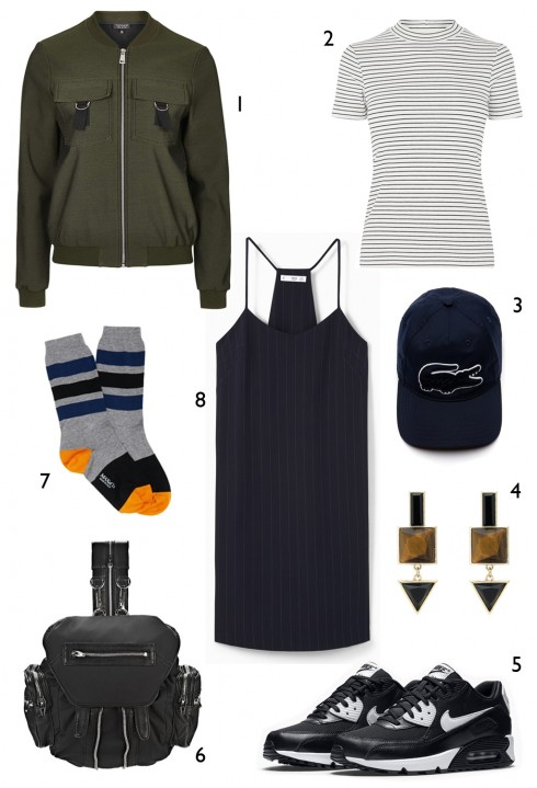 THỨ TƯ: 1 áo khoác Topshop, 2 áo thun Warehouse, 3 nón Lacoste, 4 hoa tai Oasis, 5 giày thể thao Nike, 6 ba lô Alexander Wang, 7 vớ Max & CO, 8 đầm Mango