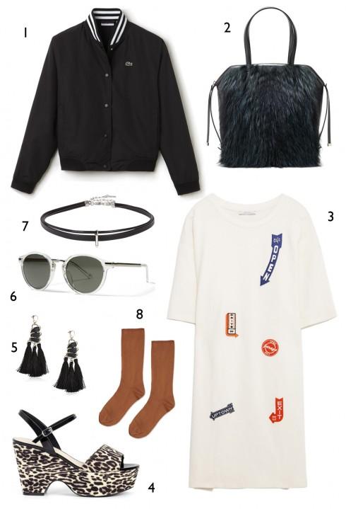 THỨ SÁU: 1 áo khoác Lacoste, 2 túi Furla, 3 đầm Zara, 4 wedge sandals Charles & Keith, 5 hoa tai Marks & Spencer, 6 mắt kính Banana Republic, 7 vòng cổ Aldo, 8 vớ Topshop
