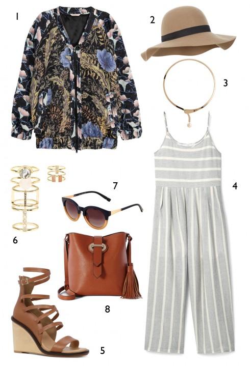 THỨ BẢY: 1 áo khoác H&M, 2 nón Accessorize, 3 vòng cổ Marks & Spencer, 4 jumpsuit Mango, 5 giày Aldo, 6 set nhẫn Accessorize, 7 mắt kính Accessorize, 8 túi Karen Millen