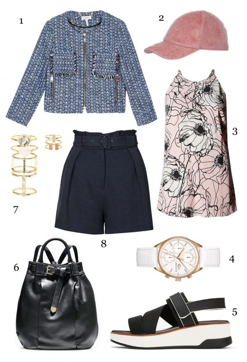 THỨ NĂM: 1 áo khoác MAX & Co, 2 nón MAX & Co, 3 áo hoa Marks & Spencer, 4 đồng hồ Lacoste, 5 sandals DKNY, 6 ba lô Cole Hann, 7 set nhẫn Accessorize, 8 quần shorts Topshop