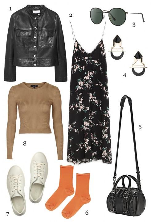THỨ SÁU: 1 áo khoác Mango, 2 đầm Zara, 3 mắt kính Rayban, 4 hoa tai Topshop, 5 túi Alexander Wang, 6 vớ Topshop, 7 giày Ecco, 8 áo Topshop