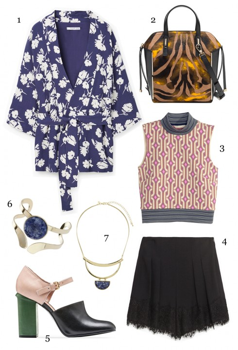THỨ BẢY: 1 áo khoác Mango, 2 túi Furla, 3 áo H&M, 4 quần shorts, 5 giày Marni, 6 vòng tay Miss Selfridge, 7 vòng cổ Miss Selfridge