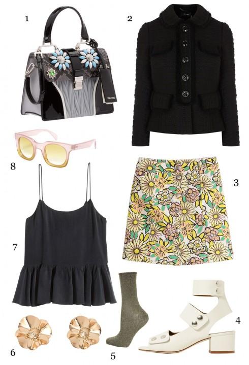 CHỦ NHẬT: 1 túi Miu Miu, 2 áo khoác Karen Millen, 3 váy H&M, 4 giày Topshop, 5 vớ kim  tuyến Topshop, 6 hoa tai Mango, 7 áo hai dây H&M, 8 mắt kính Marc Jacobs