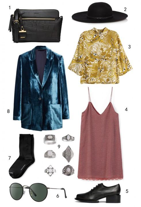 THỨ TƯ: 1 túi DKNY, 2 nón Karen Millen, 3 áo H&M, 4 đầm Mango, 5 giày DKNY, 6 mắt kính Rayban, 7 vớ Banana Republic, 8 áo blazer nhung Mango, 9 set nhẫn Topshop