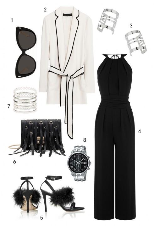 THỨ NĂM: 1 mắt kính Bally, 2 áo blazer Zara, 3 cặp vòng tay Topshop, 4 jumpsuit Warehouse, 5 giày Topshop, 6 túi Furla, 7 set nhẫn Accessorize, 8 đồng hồ Casio