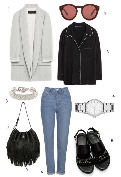 THỨ BẢY: 1 áo blazer Mango, 2 mắt kính Marc Jacobs, 3 áo Zara, 4 đồng hồ DKNY, 5 sandals Charles & Keith, 6 quần jeans Topshop, 7 túi Karen Millen, 8 vòng tay Karen Millen
