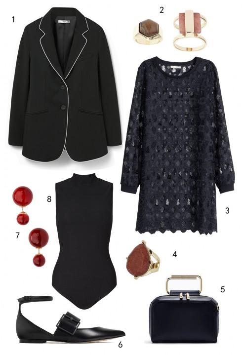 CHỦ NHẬT: 1 áo blazer Mango, 2 set nhẫn Topshop, 3 đầm ren H&M, 4 nhẫn Topshop, 5 túi Pedro, 6 giày Zara, 7 hoa tai Aldo, 8 bodysuit Miss Selfridge