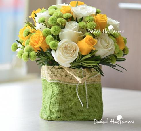 Ngoài những đóa hồng tinh khôi, giỏ hoa còn có Cát tường tím, Calimero trắng cùng nhau khoe sắc. Thích hợp để tặng mẹ, cô giáo. Giá: 382.500 đồng*.