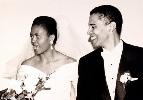 Vợ chồng tổng thống Obama trong ngày cưới