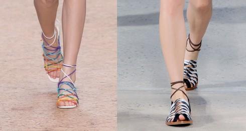 Đi cùng với những chiếc áo lụa gợi cảm là những kiểu giày sandals cũng quyến rũ không kém, tôn lên những ngón chân xinh và cổ chân thon thả.