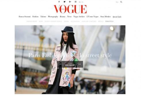 Thùy Trang lại lọt vào tầm ngắm của photographer street style trên ấn phẩm Vogue Ý khi đang đi casting.