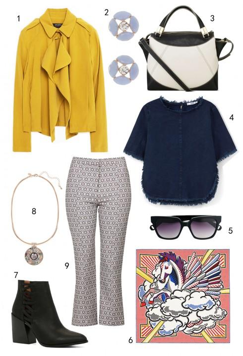 THỨ HAI: 1 áo khoác Zara, 2 hoa tai Accessorize, 3 túi Nine West, 4 áo Mango, 5 mắt kinh MAX & Co, 6 khăn Pégase Pop Hermès, 7 boots Aldo, 8 vòng cổ Marks & Spencer, 9 quần Topshop