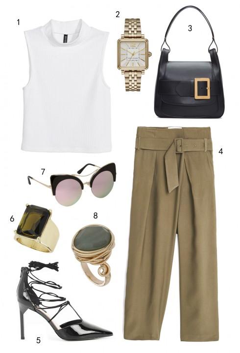 THỨ BA: 1 áo H&M, 2 đồng hồ Marc Jacobs, 3 túi Bally, 4 quần Mango, 5 giày Charles & Keith, 6 nhẫn Topshop, 7 mắt kính Aldo, 8 nhẫn Topshop