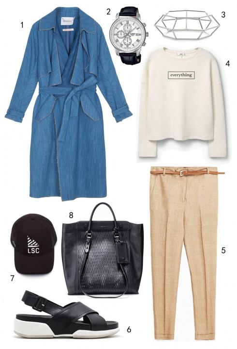 THỨ TƯ: 1 áo khoác MAX & Co, 2 đồng hồ Casio, 3 vòng tay Karen Millen, 4 áo Mango, 5 quần Zara, 6 sandals Pedro, 7 nón Lacoste, 8 túi Cole Haan
