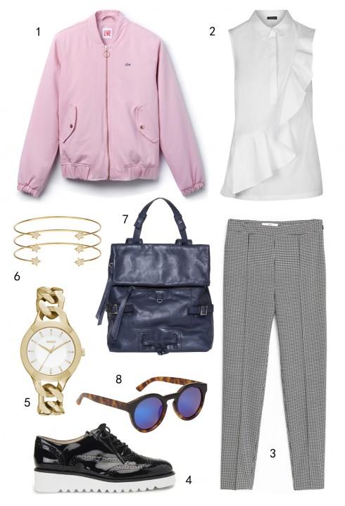 THỨ SÁU: 1 áo khoác Lacoste, 2 áo Topshop, 3 quần Mango, 4 giày Nine West, 5 đồng hồ DKNY, 6 vòng tay Accessorize, 7 túi MAX & Co, 8 mắt kính Aldo
