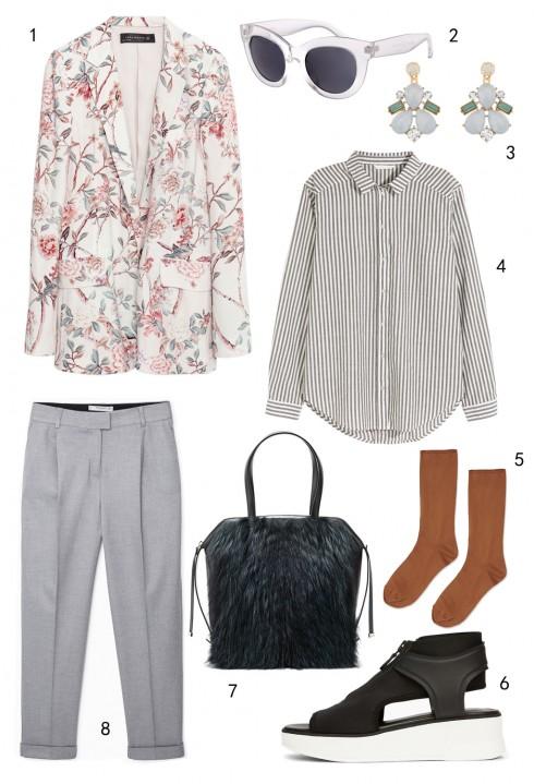 THỨ BẢY: 1 áo khoác Zara, 2 mắt kính Accessorize, 3 hoa tai Accessorize, 4 áo sơ mi H&M, 5 vớ Topshop, 6 sandals DKNY, 7 túi Furla, 8 quần Mango