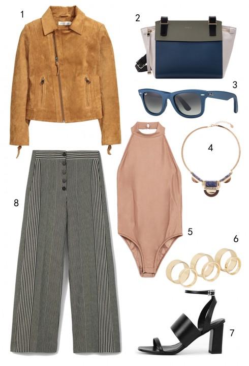 THỨ HAI: 1 áo khoác H&M, 2 túi Furla, 3 mắt kính Rayban, 4 vòng cổ Accessorize, 5 bodysuit Zara, 6 set nhẫn Aldo, 7 giày Charles & Keith, 8 quần palazzo Mango