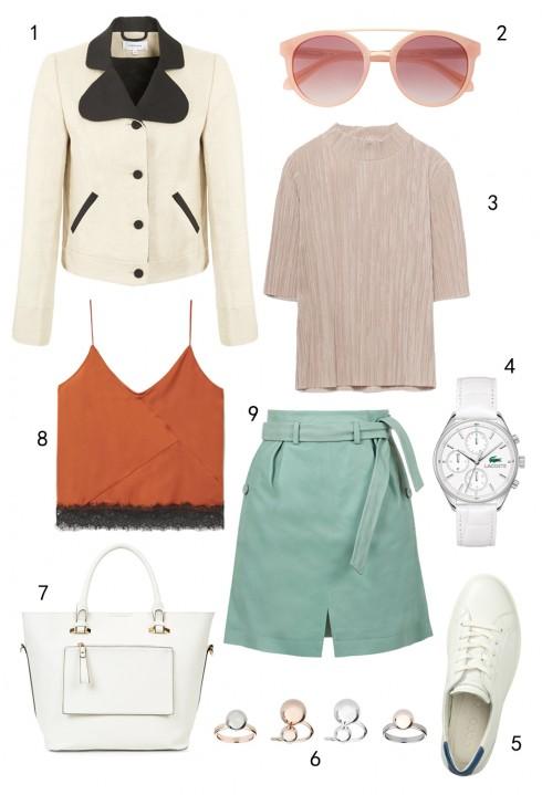 THỨ BA: 1 áo khoác Carven, 2 mắt kính MAX & Co, 3 áo Zara, 4 đồng hồ Lacoste, 5 giày Ecco, 6 set nhẫn Topshop, 7 túi Accessorize, 8 áo Mango, 9 váy Topshop