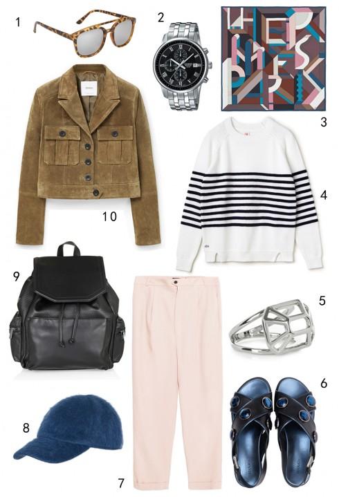 THỨ NĂM: 1 mắt kính Aldo, 2 đồng hồ Casio, 3 khăn lụa Hèrmes, 4 áo Lacoste, 5 nhẫn Karen Millen, 6 giày MAX & Co, 7 quần tây Zara, 8 nón MAX & Co, 9 ba lô Topshop, 10 áo khoác Mango
