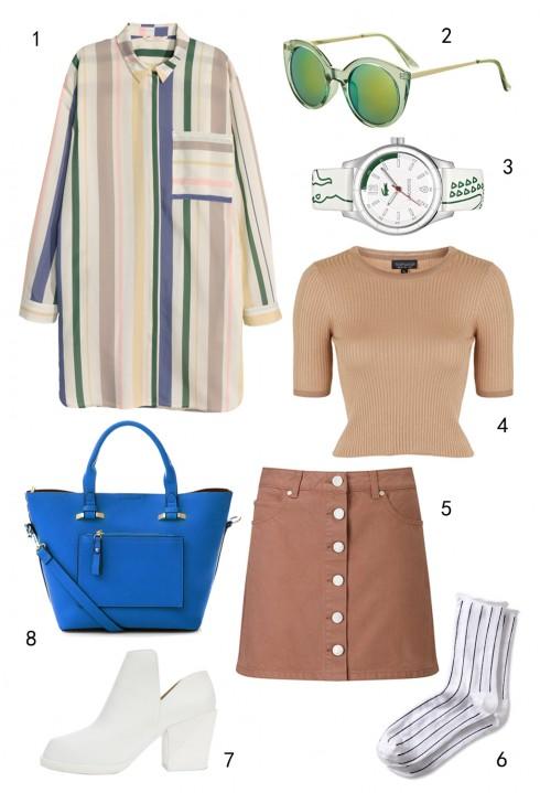 THỨ BẢY: 1 áo sơ mi H&M, 2 mắt kính Topshop, 3 đồng hồ Lacoste, 4 áo Topshop, 5 váy Miss Selfridge, 6 vớ Banana Republic, 7 giày DKNY, 8 túi Accessorize
