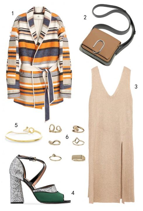 CHỦ NHẬT: 1 áo khoác H&M, 2 túi Phillip Lim, 3 đầm Zara, 4 giày Marni, 5 vòng tay Karen Millen, 6 set nhẫn Topshop