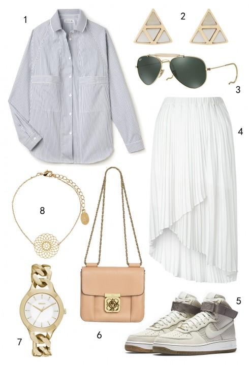 THỨ NĂM: 1 áo Lacoste, 2  hoa tai Oasis, 3 mắt kính Ray-ban, 4 váy Miss Selfridge, 5 giày Nike, 6 túi Chloé, 7 đồng hồ DKNY, 8 dây chuyền Accessorize