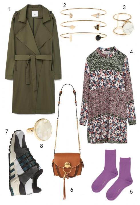 THỨ SÁU: 1 áo khoác Mango, 2 set vòng tay Accessorize, 3 nhẫn Accessorize, 4 đầm Zara, 5 vớ Topshop, 6 túi Chloé,  7 giày Adidas, 8 nhẫn Accessorize