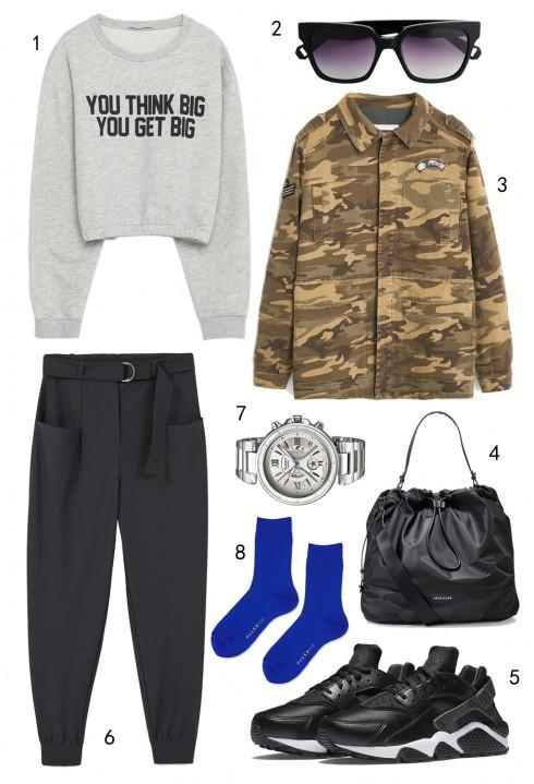 THỨ BẢY: 1 sweatshirt Zara, 2 mắt kính MAX & Co, 3 áo khoác Mango, 4 túi Cole Haan, 5 giày Nike, 6 quần Mango, 7 đồng hồ Casio, 8 vớ Topshop