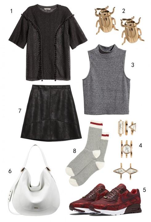 CHỦ NHẬT: 1 Áo ren H&M, 2 hoa tai Banana Republic, 3 áo H&M, 4 set nhẫn Aldo, 5 giày Nike, 6 túi Furla, 7 váy da Zara, 8 vớ Aldo