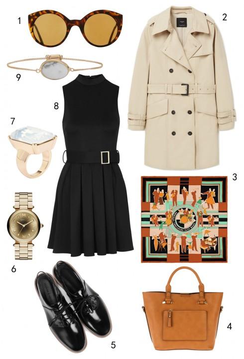 THỨ HAI: 1 mắt kính Topshop, 2 áo khoác Mango, 3 khăn lụa Hermès, 4 túi Accessorize, 5 giày Charles & Keith, 6 đồng hồ Marc Jacobs, 7 nhẫn Aldo, 8 đầm Topshop, 9 vòng tay Aldo