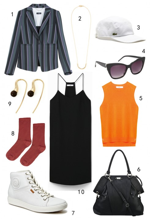 THỨ BA: 1 áo khoác blazer MAX & Co, 2 dây chuyền Warehouse, 3 nón Lacoste, 4 mắt kính Aldo, 5 áo Zara, 6 túi Nine West, 7 giày Ecco, 8 vớ Topshop, 9 hoa tai Warehouse, 10 đầm Mango