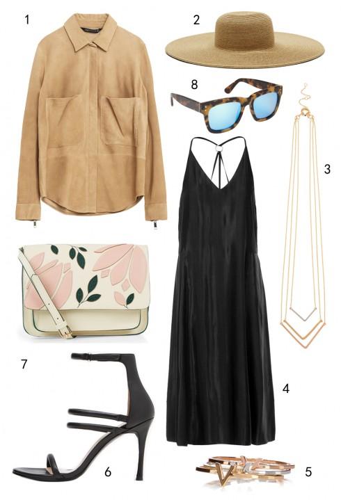 THỨ NĂM:  1 áo Zara, 2 nón Nine West, 3 dây chuyền Coast, 4 đầm Topshop, 5 set vòng tay Coast, 6 giày DKNY, 7 túi DKNY